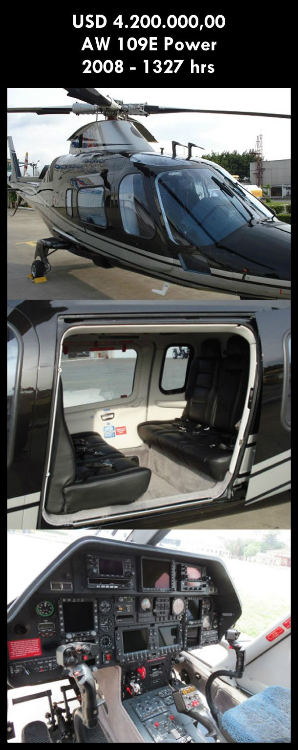 Aeronave à venda: Agusta Westland AW 109E Power, 2008,1327 hrs, USD 4.200.000,00. #agusta #agustawestland #aw109epower #agustapower #airsoftanv #a109epower #aircraftforsale #aeronaveavenda #pilot #piloto #helicoptero #aviation #aviacao #heli #helicopterforsale  www.airsoftaeronaves.com.br/H229