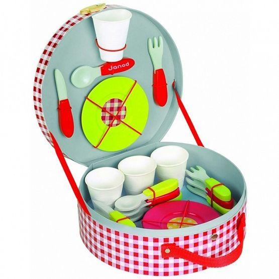 #Janod zestaw piknikowy w walizeczce z 21 drewnianymi akcesoriami | #ZabawkiDrewniane