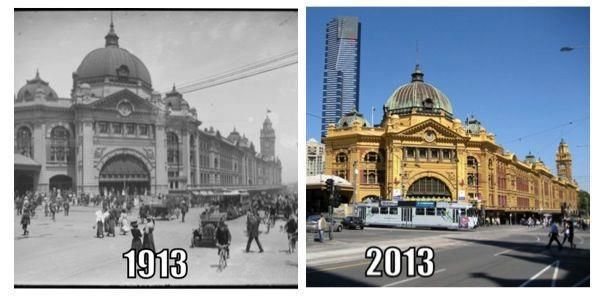 Flinders Street Station 1913 and 2013