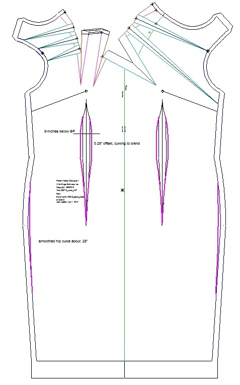 Neckline draped Dress, patterns instructions