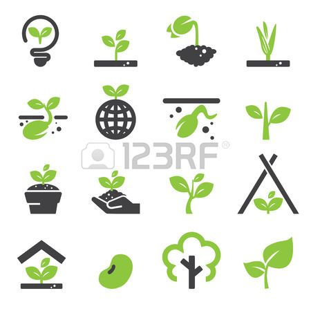 sprout icon set Stock Vector