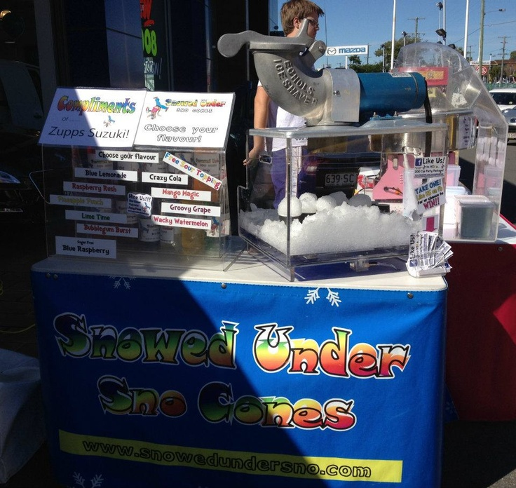 Zupps getting the first use of our new crystal clear snow cone bases at their Sales Event in Mt Gravatt.