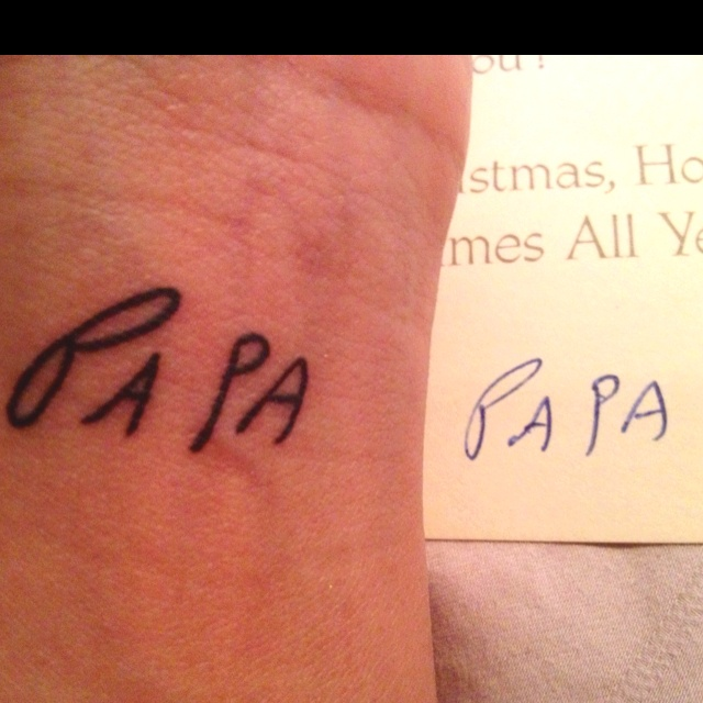 Tattoo of my dad signing the last Christmas card he gave me before he passed.
