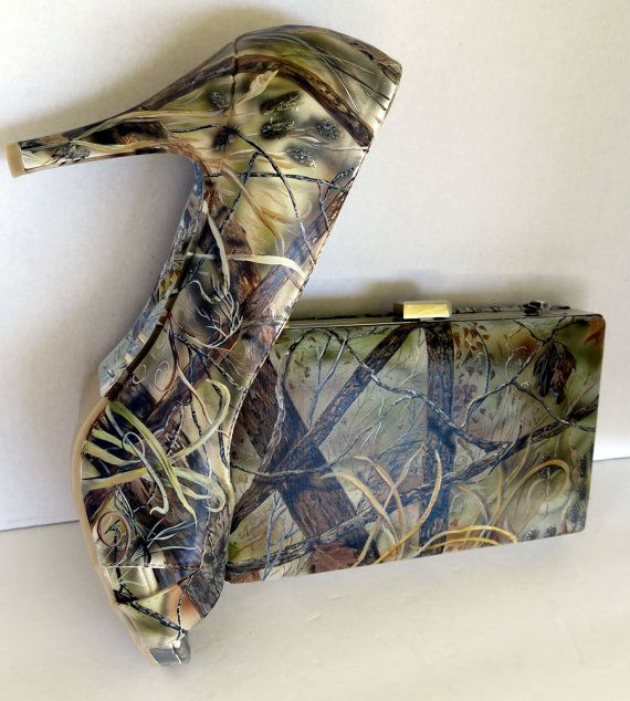 Hand Painted hunting camouflage clutch purse by TheExpressiveSole