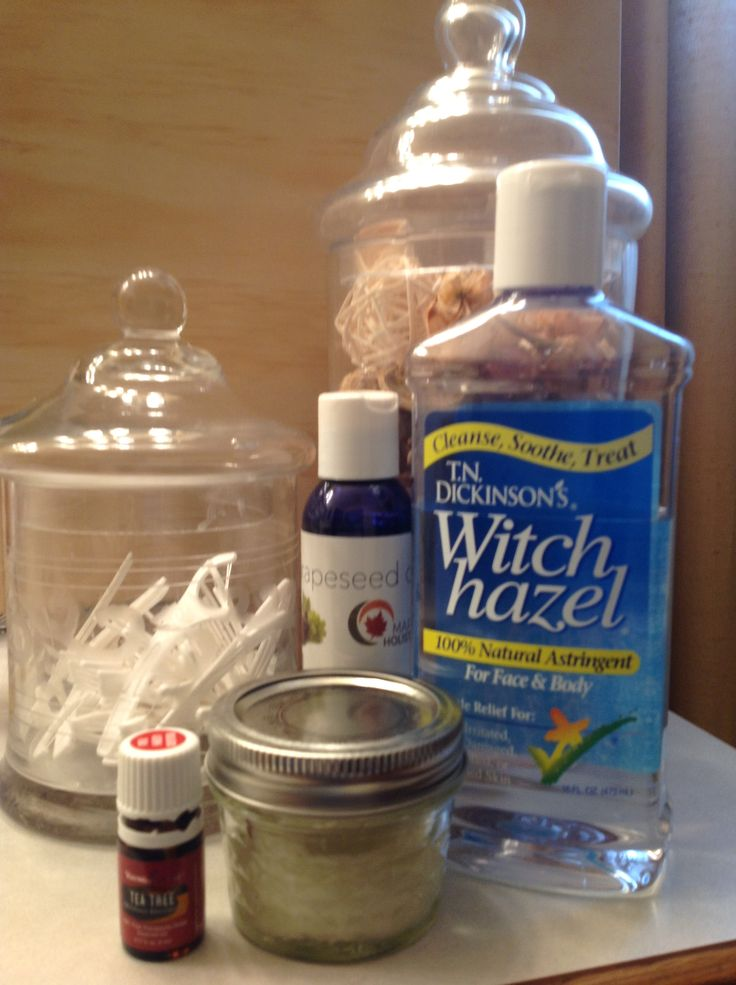 Make Up Remover Pads 2 Tbsp Witch Hazel  2 Tbsp Grape Seed Oil( or your choice carrier oil) 2 Tbsp Distilled Water 2 drops Tea Tree(Mel-A) Mix together and pour over 1/2 round Cotton Pads in 4oz mason jar press down add more Cotton Pads pour remaining mix press down to absorb. Amazing and Natural!  Works Great!