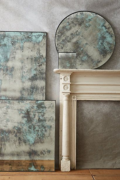 Color-Washed Mirror #anthropologie (hand distressed antique finish with a coat of color turns these mirrors into pieces of art)
