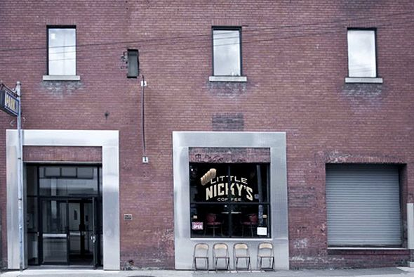 Little Nicky's at 375 Queen Street West is a 50s/60s style coffee house known for their made-to-order miniature donuts .
