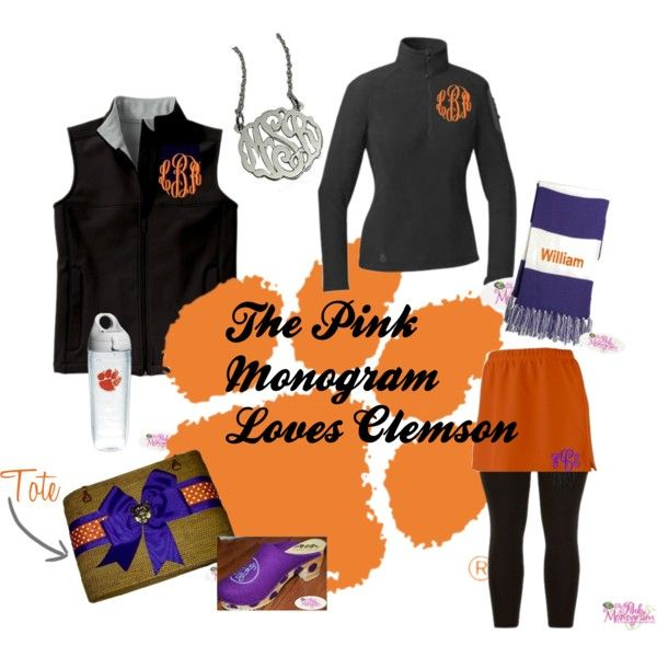 """""""The Pink Monogram Loves Clemson"""" by thepinkmonogram on Polyvore"""
