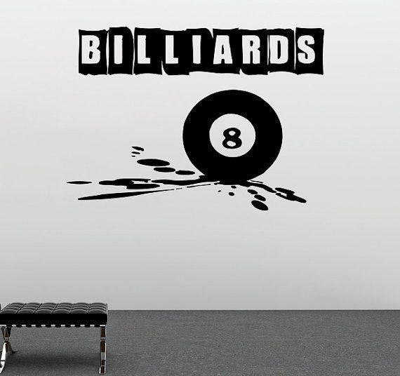 Biliardo parete Vinyl Decal biliardo parete vinile adesivo segno sport decalcomanie biliardo camera decorazione (23bs)