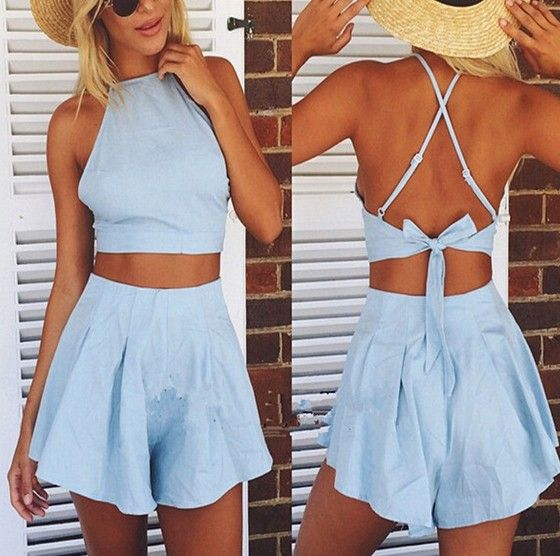 Light Blue Plain Crop Tie Back Backless 2-in-1 Short Jumpsuit
