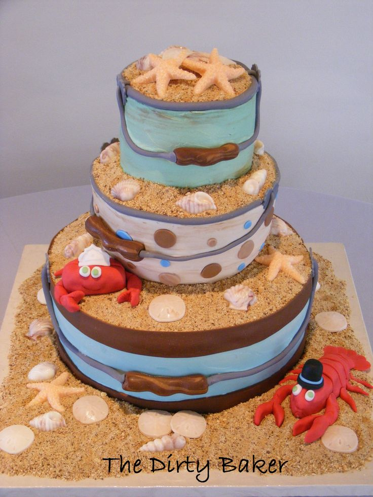 "Beach Sand Buckets Wedding Cake, Crab Bride and Lobster Groom with Cabo ""Sand"""