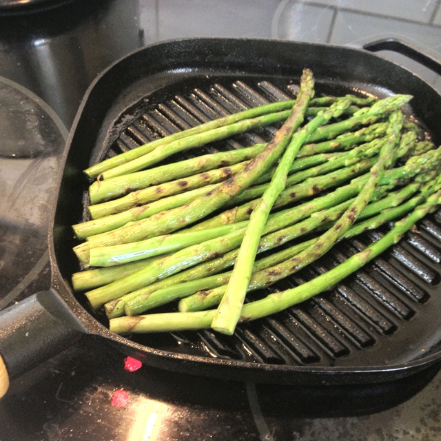Asparagus! Boil one minute before putting in the frying pan.