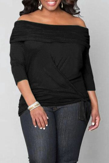 Plus Size Black Off Shoulder Blouse with Tie Waist - US$19.95 -YOINS