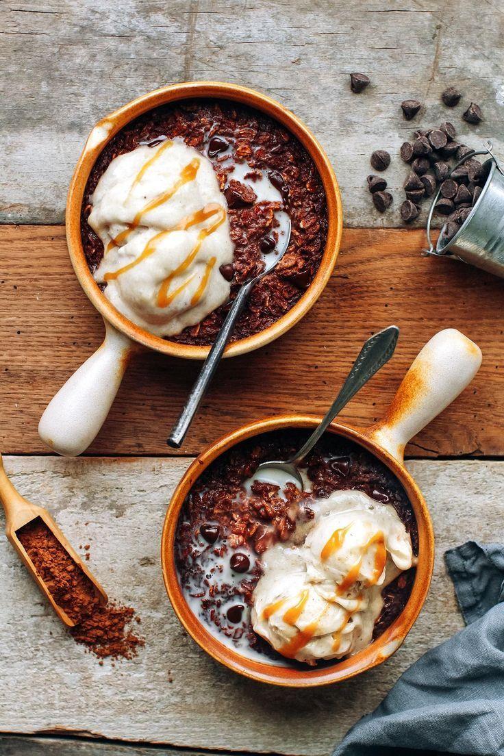 brownie oatmeal with banana ice cream (hot & cold!) | recipe | food