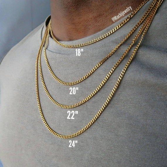 Cuban Link Chain Necklace For Men 18k Gold Cuban Necklace Etsy Cuban Link Necklace Chains For Men Gold Chains For Men