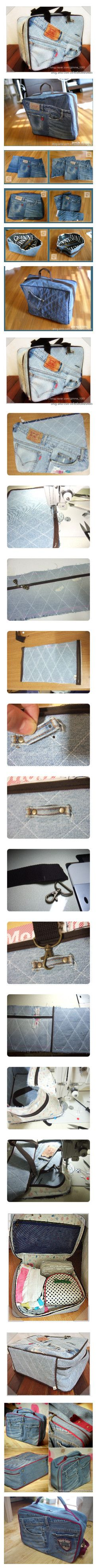 Three denim travel bag tutorials. Great for up-cycling those jeans with the blown-out knees!