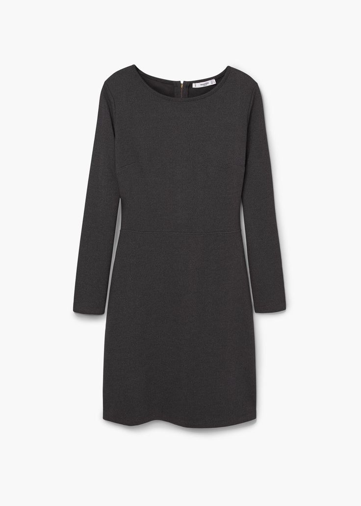 Katoenen jurk | MANGO cotton dress longsleeve black