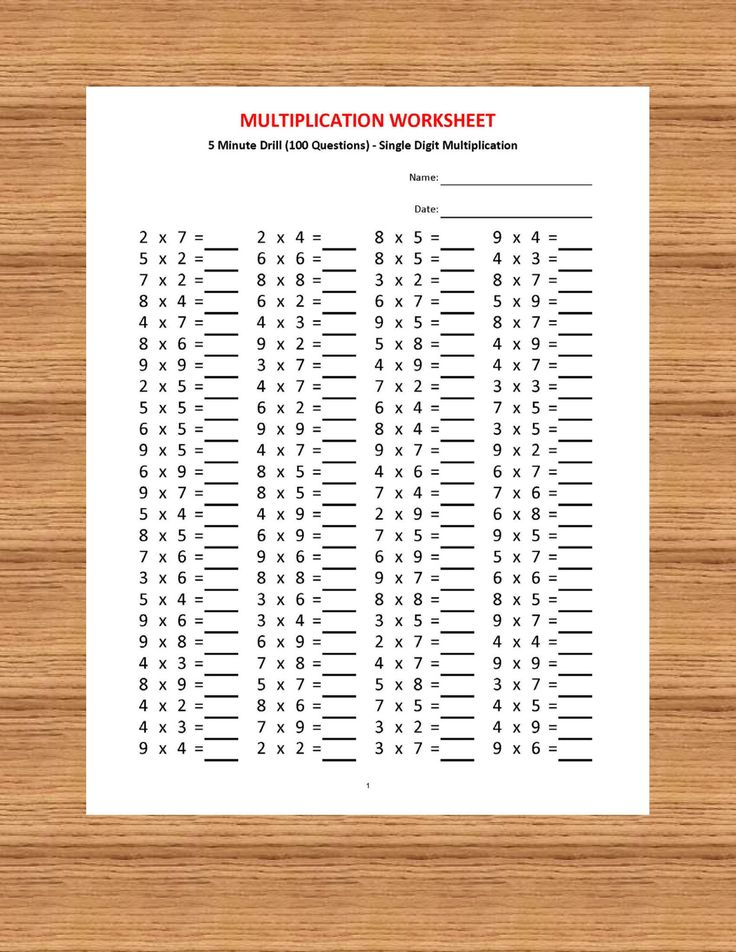 Multiplication 5 minute drill (Worksheets with answers ...