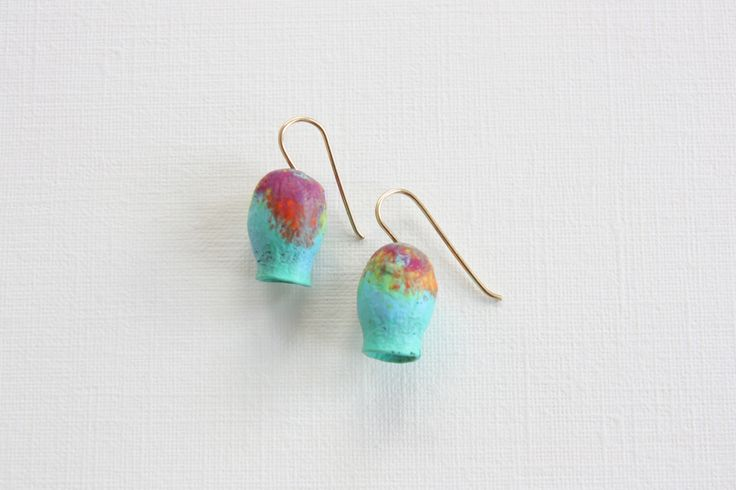 Dinosaur Designs for Romance Was Born - Small Gumnut Earrings in Cool Bright Swirl