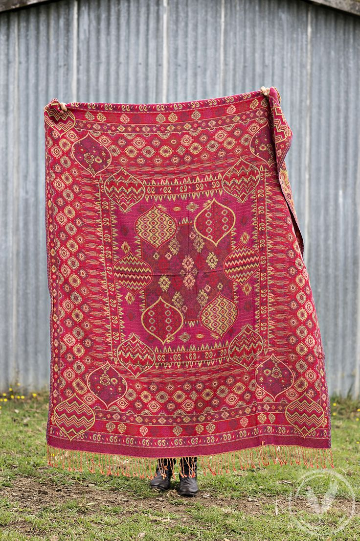 Red Multi Jacquard Throw http://www.frenchcountry.co.nz/