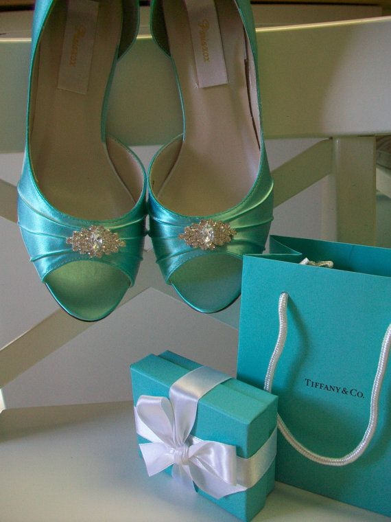 I will be wearing these shoes, but in Royal Blue, underneath my wedding dress!    Tiffany Blue Wedding Shoes Over 100 Colors Choose Your by Parisxox, $112.00