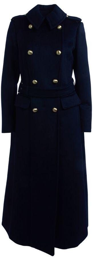 Cappotto Michael Kors Alla Marinara In Lana Blu Navy