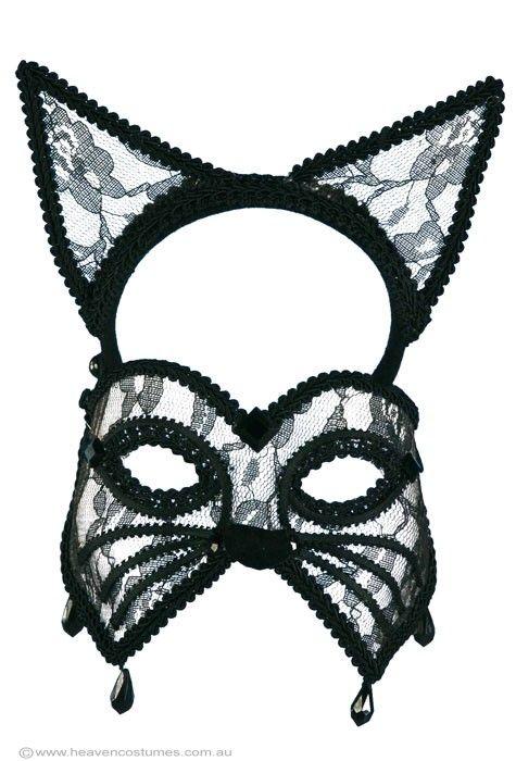Black Lace Cat Masquerade Mask | Black Cat Masquerade Mask on a Headband - Halloween Costumes  sc 1 st  Pinterest & 14 best Catwoman images on Pinterest | Fancy dress Fancy dress ...