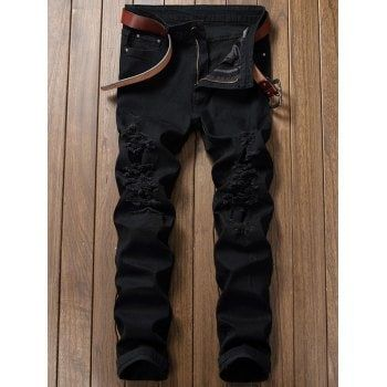 Zip Fly Straight Extreme Ripped Jeans - BLACK BLACK