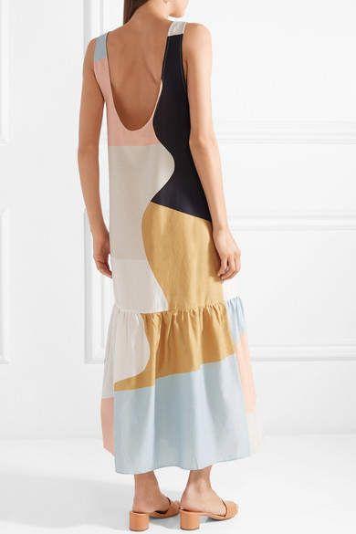 80c433d027 Mara Hoffman Valentina Color-block Organic Cotton-voile Maxi Dress - Peach  #Color#block#Valentina
