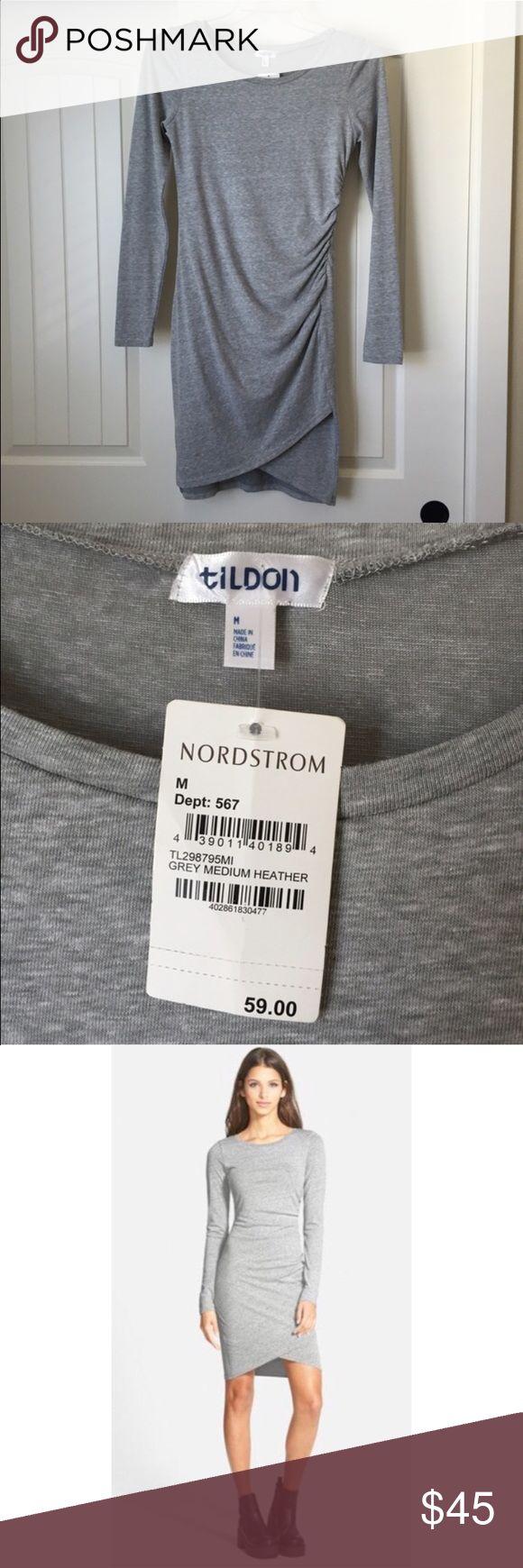 Heather Grey Long Sleeve Dress NWT! Tildon heather grey long sleeve dress. 56% polyester 44% cotton. Body-con style dress Tildon Dresses