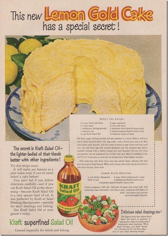1951 recipe for Lemon Gold cake, Easter desserts, vintage ads