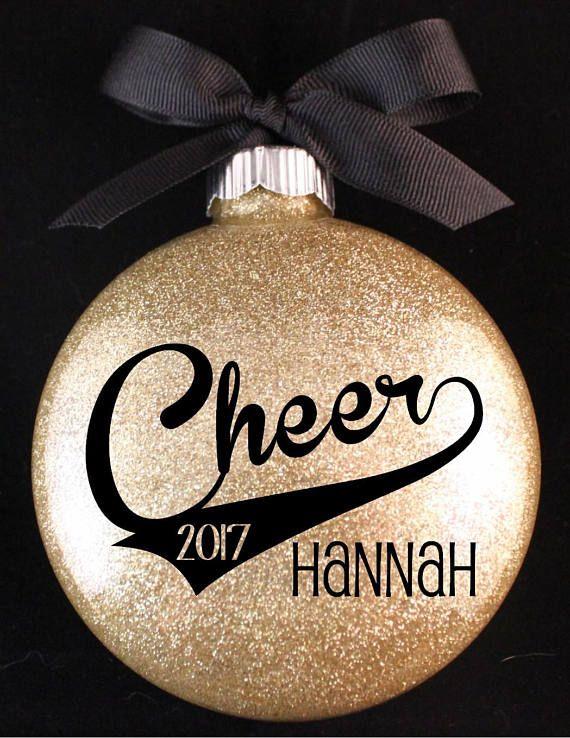 $9. Cheerleader Christmas Ornament, Cheer Ornament with Name and Year. Custom glitter cheerleading present. #cheerleading #ad
