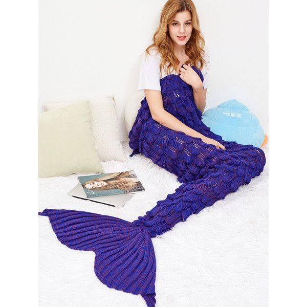 Purple Fish Scale Design Knit Mermaid Blanket ❤ liked on Polyvore featuring home, bed & bath, bedding, blankets, purple bed linen, purple blanket, knit bedding, purple bedding and knit blanket