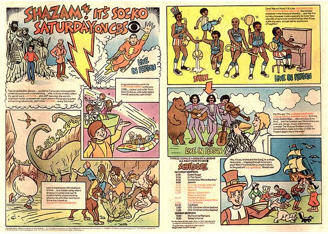 1974 CBS Saturday Morning Cartoons Advertisement, in Comic Books, Featuring: Partridge Family: 2200 A.D., Valley of the Dinosaurs, Shazam, Harlem Globetrotters, U.S. of Archie, Hudson Brothers