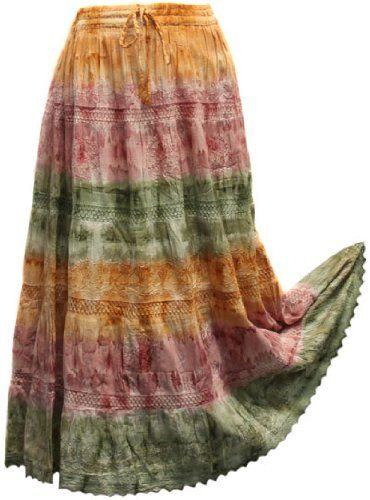 $14.99 BombayFashions DISCOUNTED Full/Ankle Length LINED Tie-Dye SOLID Bohemian Gypsy Lightweight Skirt