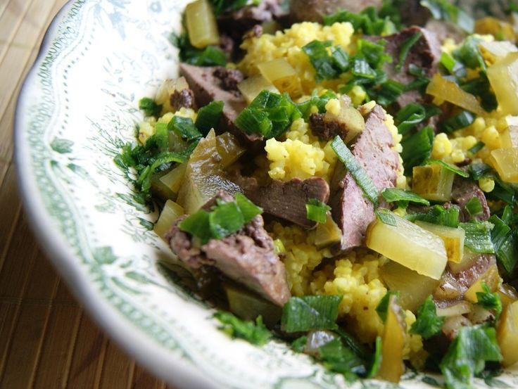 Sałatka z kaszą jaglaną i wątróbką Food, Meat, Beef