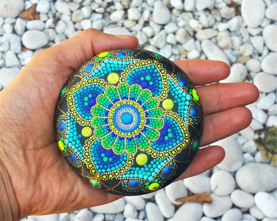BLUE FLOWER MANDALA Hand Painted