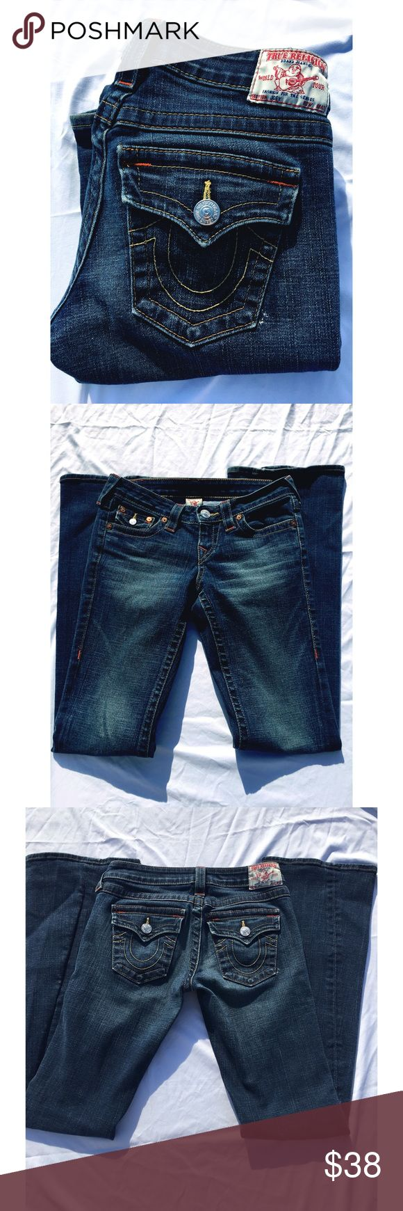 True Religion Women Joey Flare Jeans Size 26 You are buying True  Religion Women  Jeans size 26 flare   Outseam : 41   Inseam : 34   Hip : 16 inches   Notice : does have a small purple stain in the front of one of the legs , other then that excellent condition ! True Religion Jeans Flare & Wide Leg