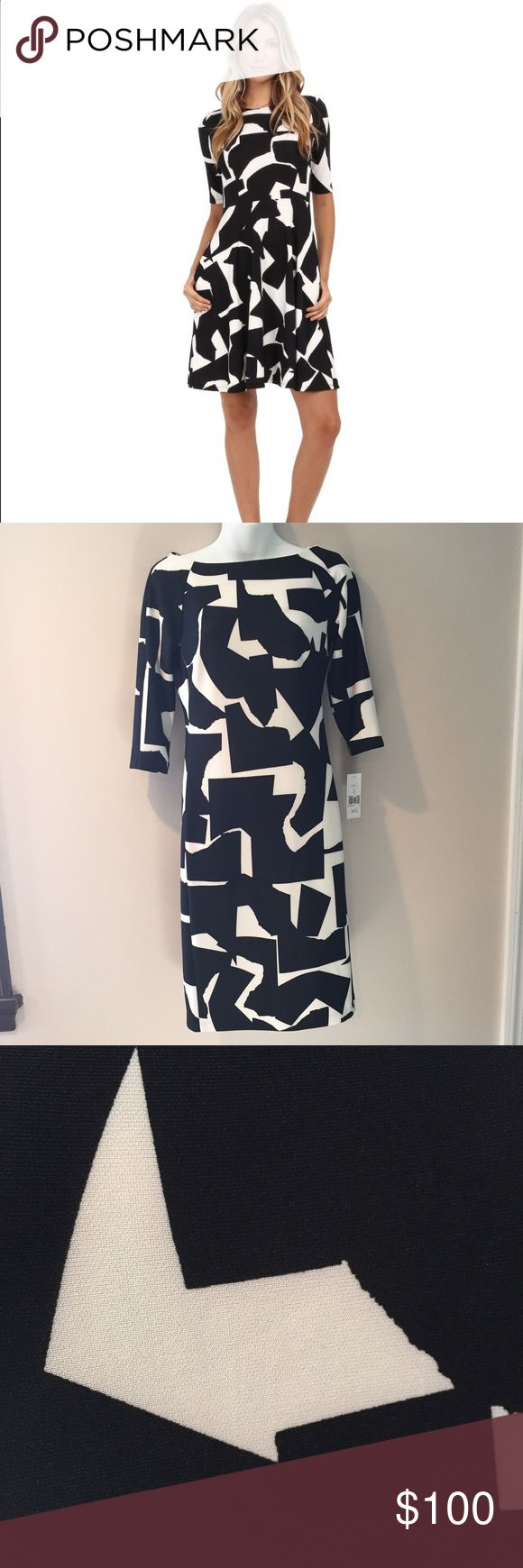 "Donna Morgan black and white dress. Size 4  Donna Morgan black and white dress. 38"" long   Poly/spandex. Donna Morgan Dresses"
