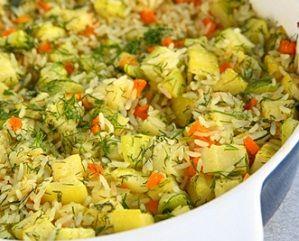 Рецепт летнего гарнира из недорогих и доступных продуктов, который можно есть как горячим, так и холодным. Рецепт приготовления риса с кабач...