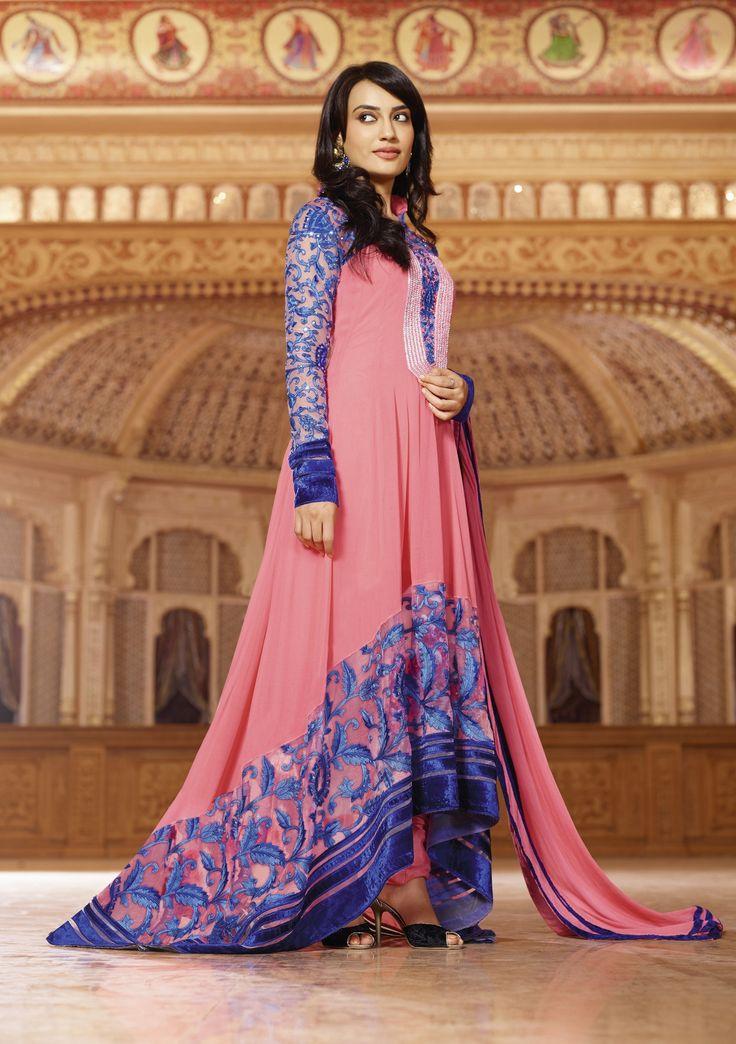 Fabric : Georgette Top With Santoon Bottom & Chiffon Dupatta Work : Heavy Resham Embroidery Work With Kundan Work
