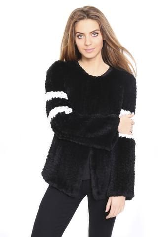 FUR 5 EIGHT CINDY BLACK KNITTED RABBIT STRIPED FUR JACKET