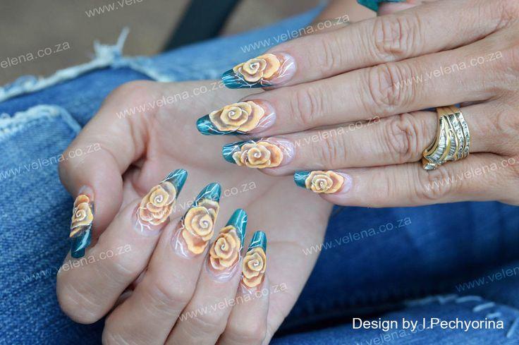 3D Roses on turquoise tinted semi-transparent nails. www.velena.co.za