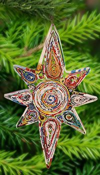 Recycled Magazine Guiding Star Ornament at The Breast Cancer Site