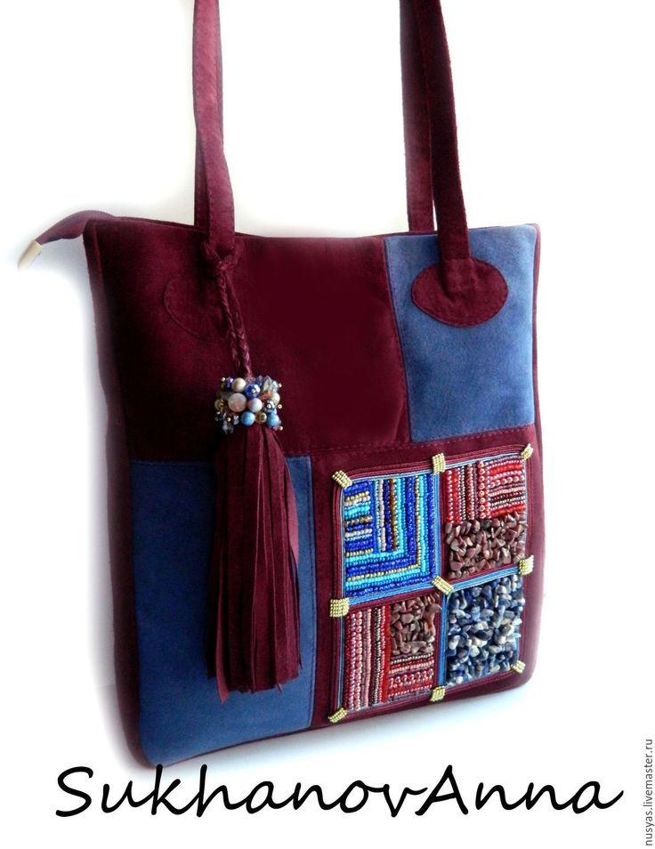 """Купить Сумка """"Бордо1"""" - бордовый, абстрактный, сумка замшевая, сумка из замши, сумка свышивкой"""