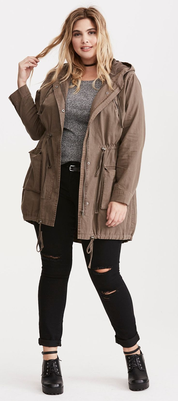 Plus Size Twill Anorak Jacket
