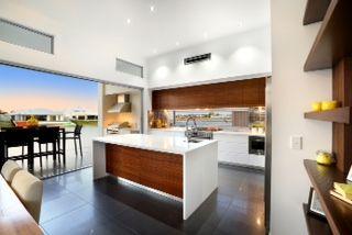 NAV Enviroven™ Pecano Veneer - GJ Gardener Pelican Waters Display Home - Installed by Kitchens By Bowen