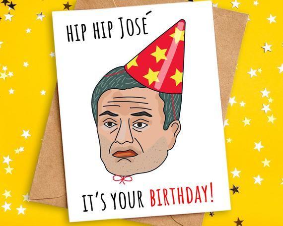 Funny Football Birthday Card Mourinho Spurs Pun Card Etsy Birthday Cards Pun Card Football Birthday