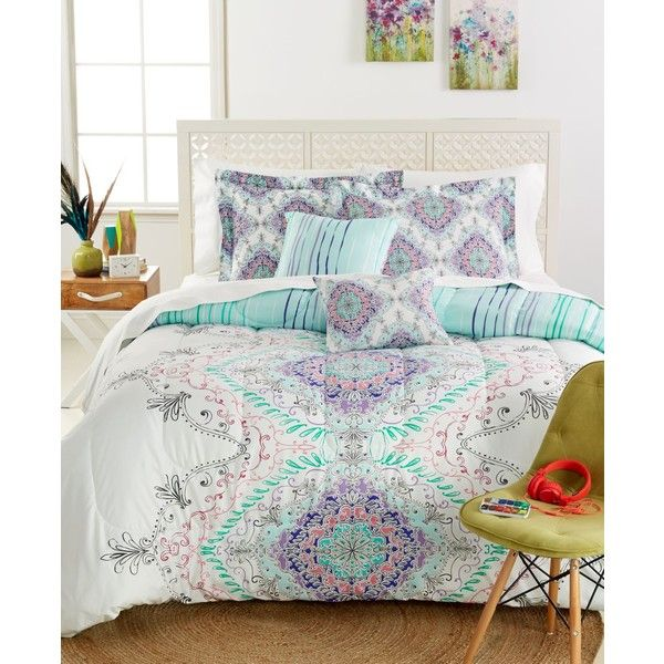Legend 5-Pc. Full Comforter Set (83 CAD) ❤ liked on Polyvore featuring home, bed & bath, bedding, comforters, aqua, twin xl comforter, aqua comforter, twin comforter sets, medallion bedding and twin extra long bedding