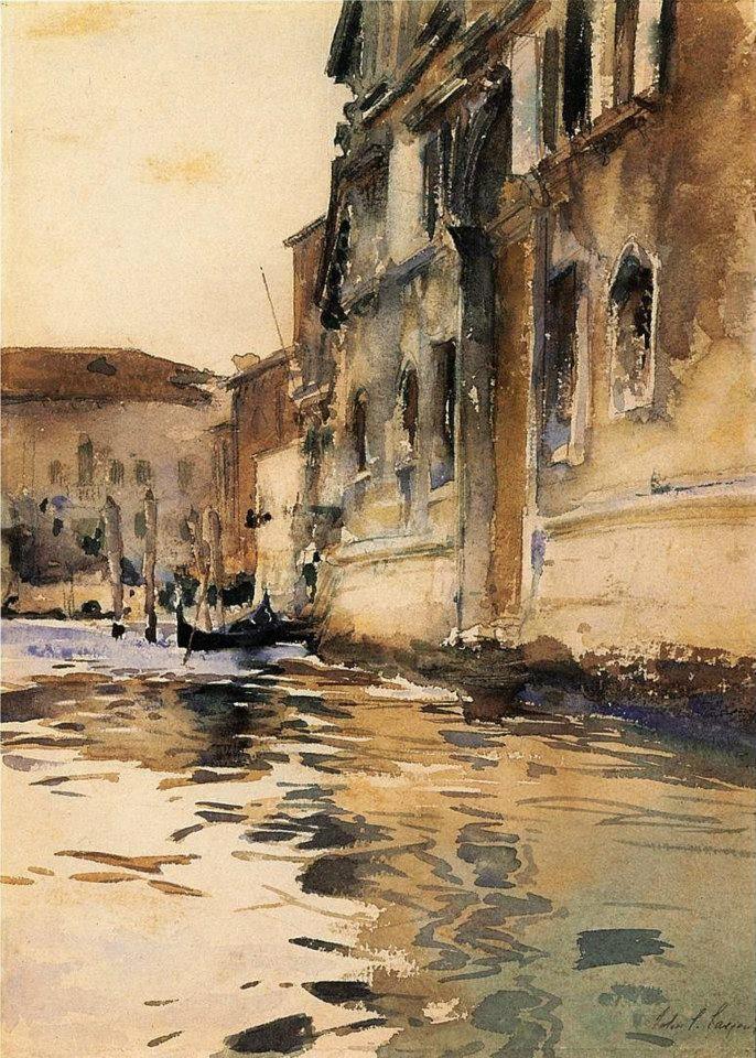 WaterMedia John Singer Sargent (1856 — 1925, USA) Venetian Canal, Palazzo Corner. 1880 watercolour on paper. 22,86 x 31,75 cm.